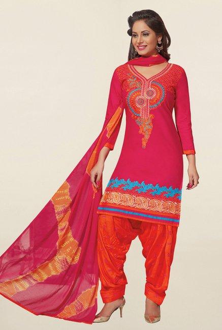 Salwar Studio Pink & Orange Cotton Unstitched Patiala Suit