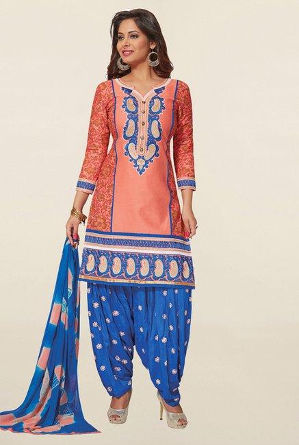 Salwar Studio Peach & Blue Cotton Unstitched Patiala Suit