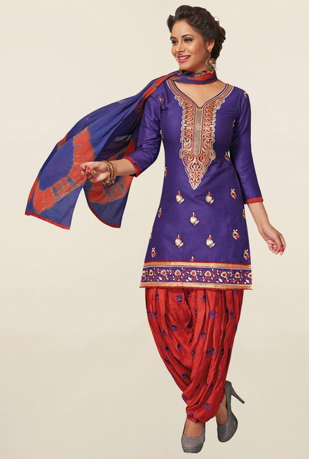Salwar Studio Purple & Red Cotton Unstitched Patiala Suit