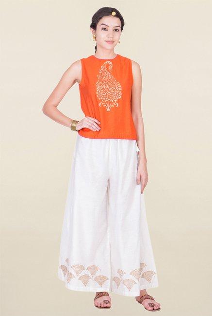 ANS Orange Printed Top