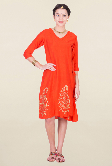 ANS Orange Printed Tunic