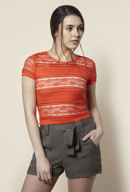 New Look Orange Lace T Shirt