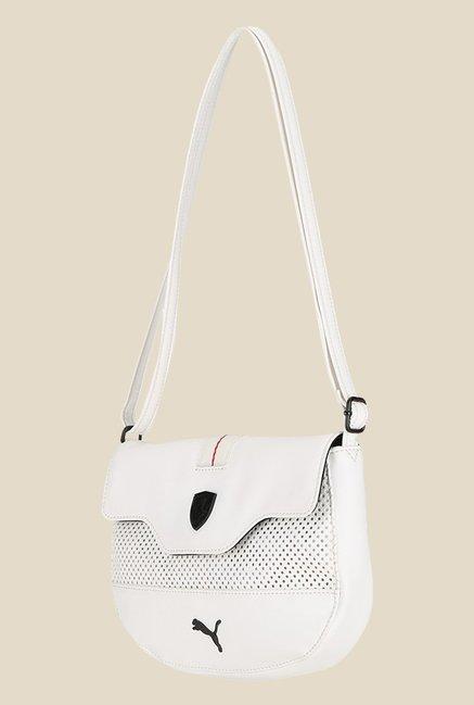 Puma Ferrari Ls White Textured Sling Bag
