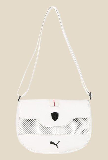 414ca353efec Buy Puma Ferrari LS White Textured Sling Bag For Women At Best Price   Tata  CLiQ