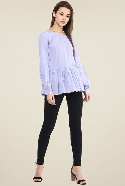 Magnetic Designs Lavender Relaxed Fit Peplum Top
