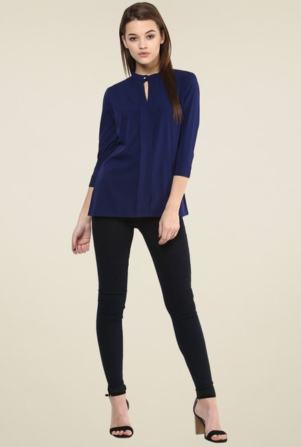 Magnetic Designs Navy 3/4th Sleeves Top