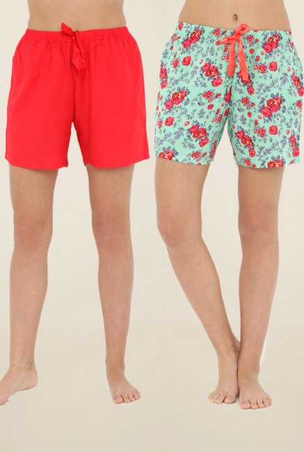 1938aa49b2 Buy Heart 2 Heart Red   Green Floral Print Shorts (Pack Of 2) for ...