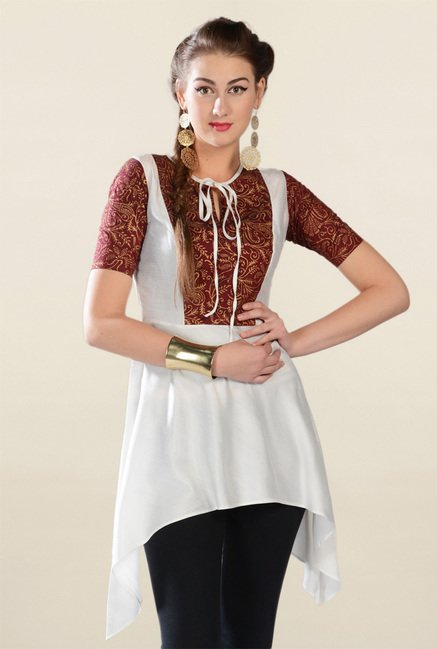 ANS White & Maroon Printed Top