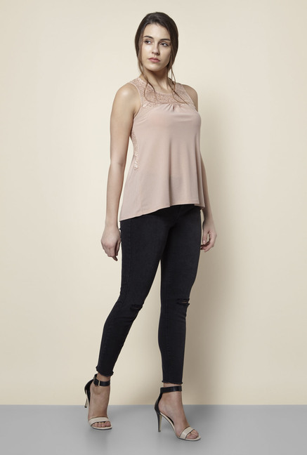 New Look Beige Lace Top