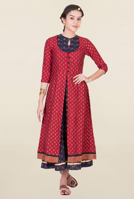 ANS Navy & Maroon Printed Dress