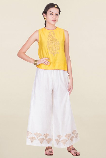 ANS Yellow Printed Top
