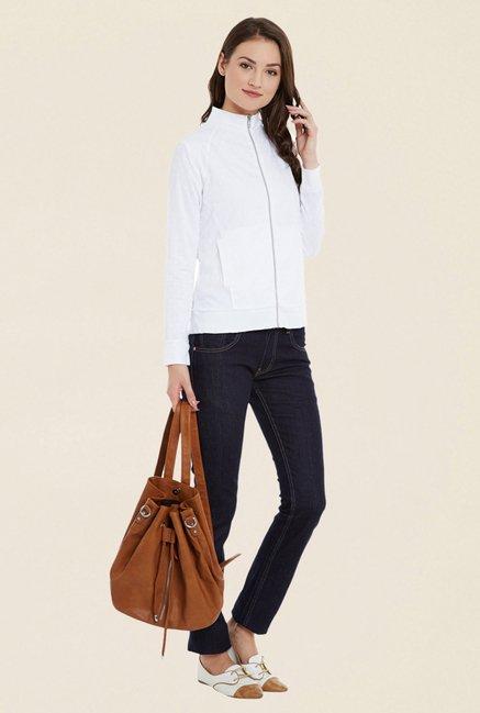 Cherymoya White Solid Sweatshirt