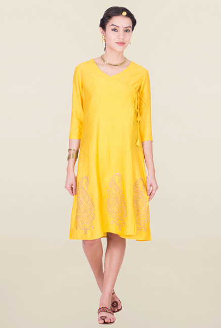 ANS Yellow Printed Tunic