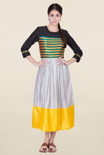 ANS Grey & Black Striped Dress