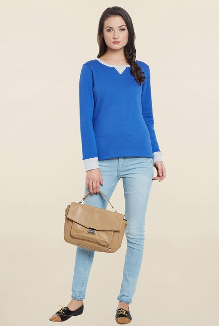 Cherymoya Blue Solid Sweatshirt