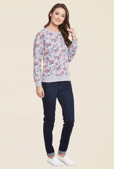 Cherymoya Grey Floral Print Sweatshirt