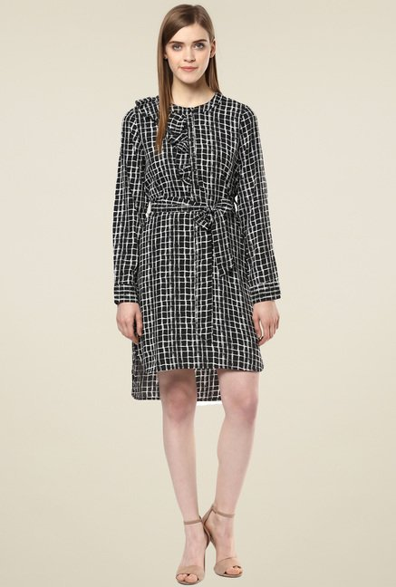 Magnetic Designs Black Checkered Dress
