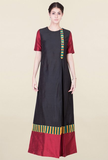 ANS Black & Maroon Maxi Dress