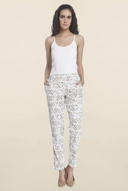 Vero Moda Off White Printed Tapered Pant