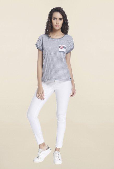 Vero Moda Light Grey Striped T Shirt