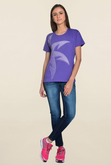Zeven Tribe Purple Printed T Shirt