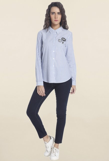 b7e045922d Buy Vero Moda White & Blue Striped Shirt for Women Online @ Tata CLiQ