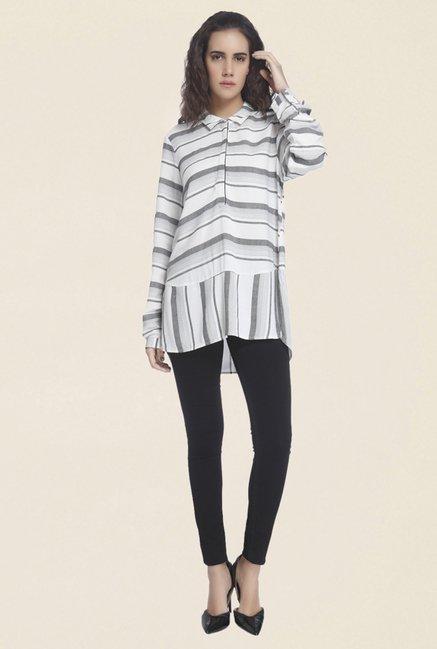 f6d3474993 Buy Vero Moda Off White & Grey Striped Shirt for Women Online @ Tata CLiQ