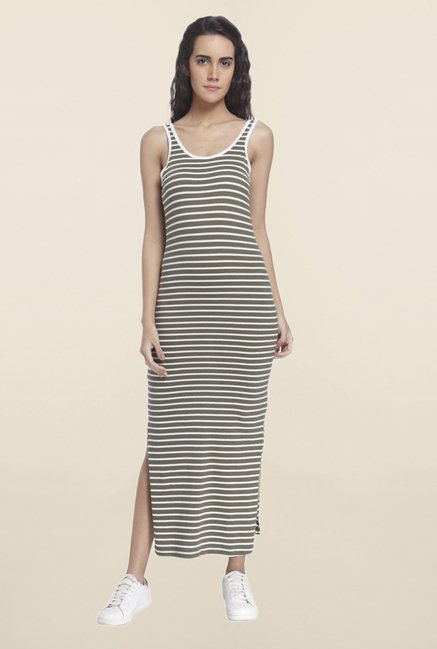 Vero Moda Olive Striped Dress