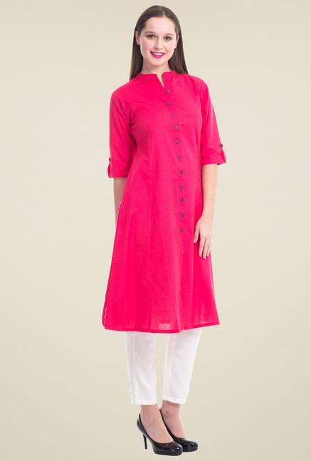 Shree Pink Mandarin Collar Regular Fit Kurta