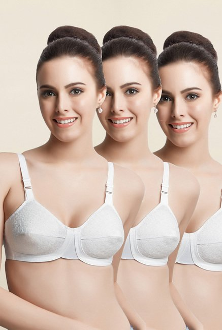 Libertina White Empress Non Padded Bra (Pack Of 3)