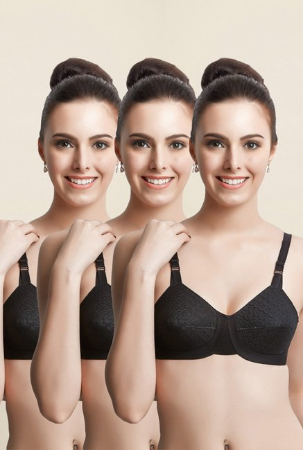 Libertina Black Empress Non Padded Bra (Pack Of 3)