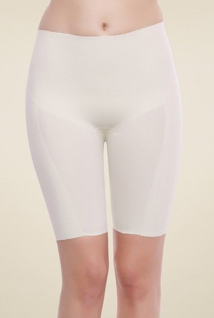 Zivame Beige High Rise Seamless Shaping Shorts
