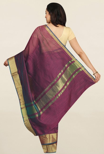 Pavecha's Maroon Banarasi Cotton Silk Saree