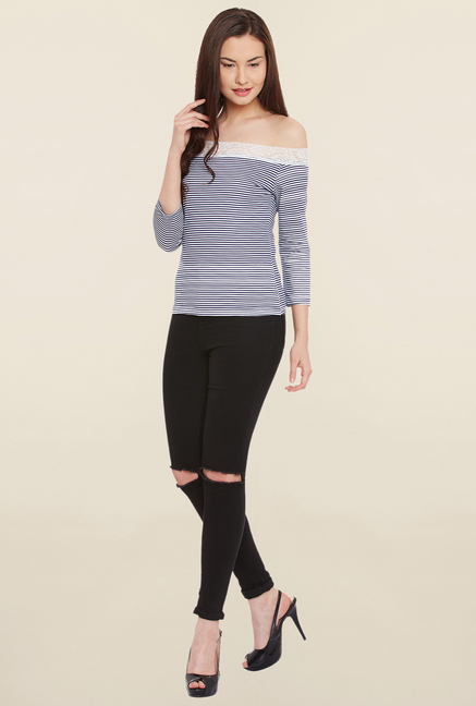MEEE Navy and White Striped Top