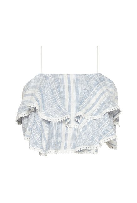 Nuon by Westside Light Blue Striped Crop Top
