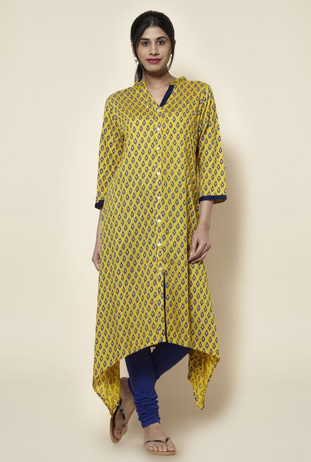 Zudio Mustard Slim Fit Kurta