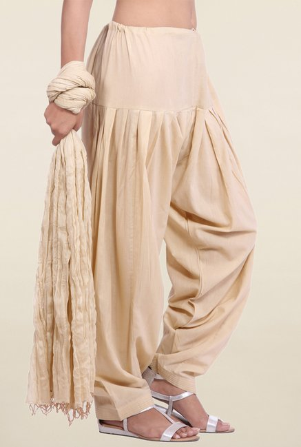 Jaipur Kurti Cream Solid Patiala Salwar With Dupatta
