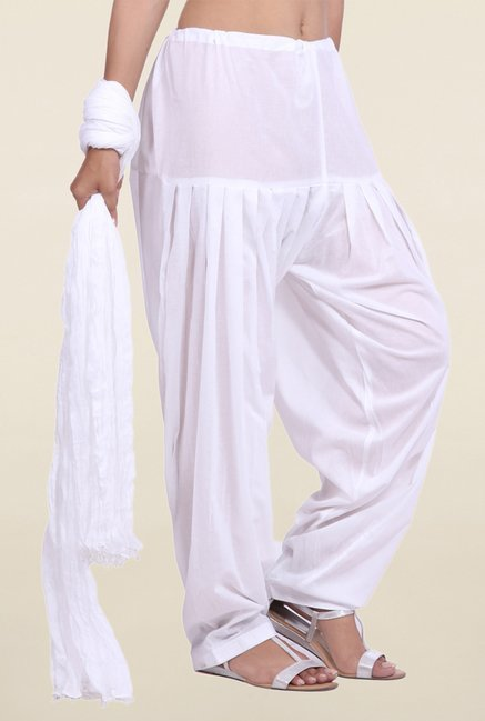 Jaipur Kurti White Solid Patiala Salwar With Dupatta