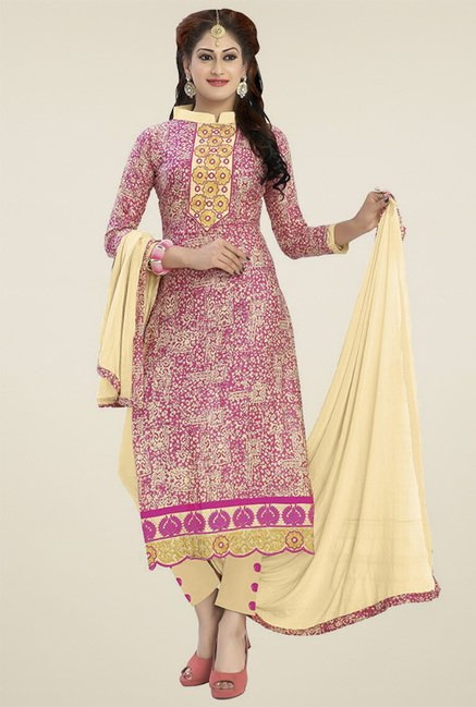Buy Ishin Cream   Pink Cotton Dress Material for Women Online   Tata ... 70a9b7d87
