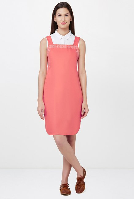 AND Coral Embroidered Dress