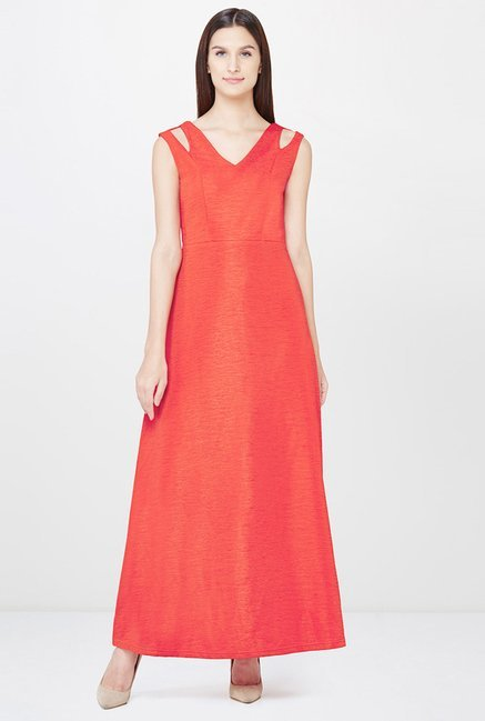 AND Red Textured Dress