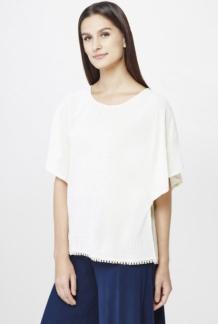 AND Off White Textured Top