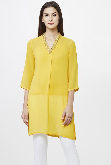 AND Yellow Embellished Tunic
