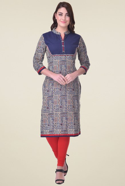 Indi Dori Multicolor Regular Fit Cotton Kurta
