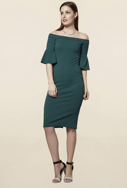 FG4 London Frilly Green Off Shoulder Dress