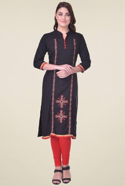 Indi Dori Black Embroided Kurta