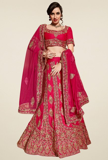 Aasvaa Dark Pink Short Sleeves Semi-Stiched Suit Set