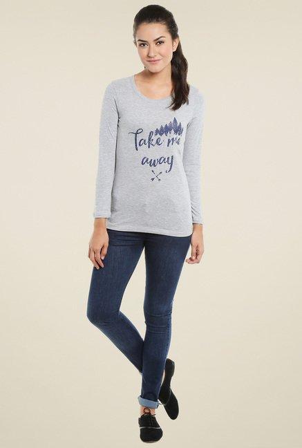 Loco En Cabeza Grey Round Neck T-Shirt