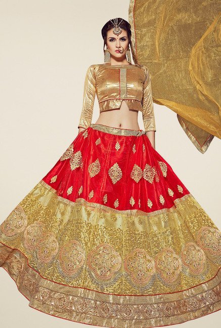 Aasvaa Red & Gold Round Neck Semi-Stiched Suit Set