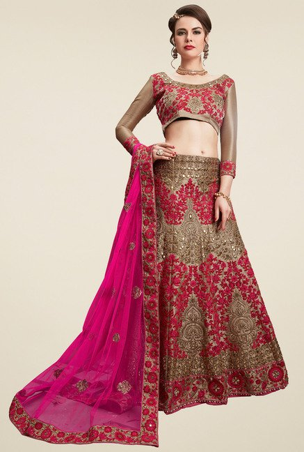 Aasvaa Pink 3/4th Sleeves Semi-Stiched Suit Set